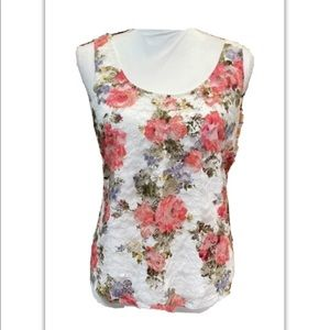 One Clothing,  Floral Print,  Lace Overlay Top. L.